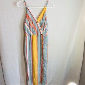 Sandy & side Stripped Button Up Dress